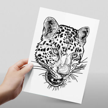 Leopard head line drawing // black and white // abstract leopard // print // home decor// A4 size // glossy paper print