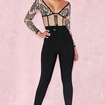 Clothing : Jumpsuits : 'Amra' Black & Nude Bandage Lace Jumpsuit