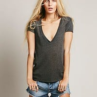 Free People Womens We The Free Deep V Rib Tee