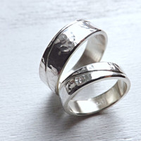 silver wedding band set, two wave rings silver, engraved wedding rings personalized, rustic wedding rings, distressed ring recycled silver