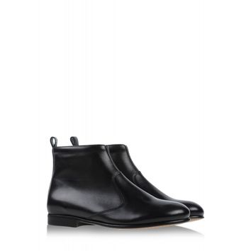 A.P.C. Gigi Leather Ankle Boot - Low Black Flat Bootie - ShopBAZAAR