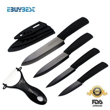 """zirconia ceramic knife set 3"""" 4"""" 5"""" 6"""" inch + Peeler + covers black blade black colors handle home kitchen knives free shipping"""