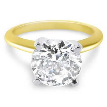 A Perfect 14K Yellow Gold 6CT Round Cut Solitaire Russian Lab Diamond Ring