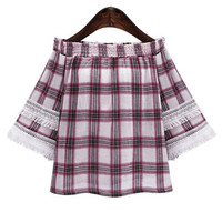 Red Plus Size Fringed Plaid Off The Shoulder Blouse