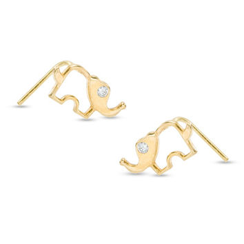 025 Gauge Cubic Zirconia Elephant Nose Stud in 10K Gold - - View All - PAGODA.COM