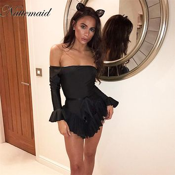 NATTEMAID Sexy bustier jumpsuit romper summer pleated playsuit One piece off the shoulder backless flare long sleeve overalls