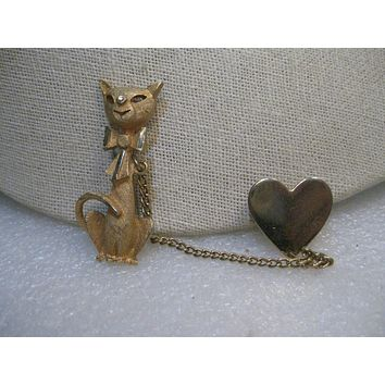 "Vintage Siamese Cat and Heart Brooch/Sweater Guard, 1960's, 3"" Chain, 2"" tall"