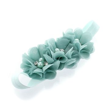 Girls Beaded Chiffon 3-Flower Headband