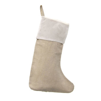 Linen Natural Christmas Stocking w/ White Cuff, 16-inch