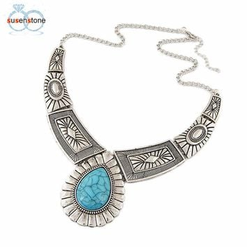 SUSENSTONE Vintage Necklace Alloy Gold Sliver Metal Link Chain Women Necklaces Chain Bib Necklace Jewelry Gift