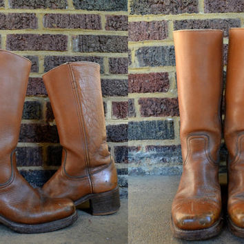 Vintage 70's Men's Frye Tan Leather Campus Stacked Heel Bohemian Boots, size 10