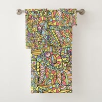 Colorful Abstract Doodle Fantasies Pattern Bath Towel Set