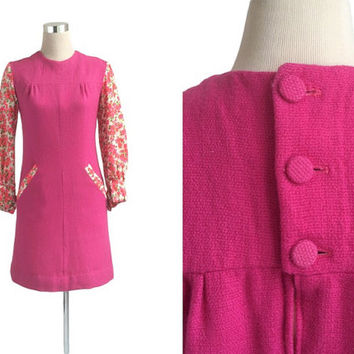 60's Mini Dress - Vintage 1960's Dress - Shocking Pink Thick Woollen Dress