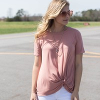 Malay Bamboo Fabric Knotted Top, Salmon