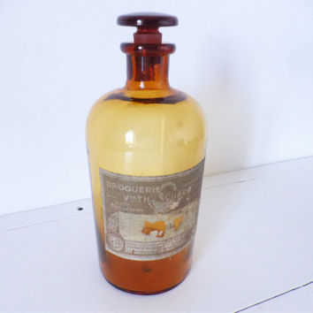 Vintage French, Pharmacy Bottle, Amber Glass