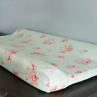 Mint /Pink  Floral & Dots Shabby Chic Changing Pad Cover