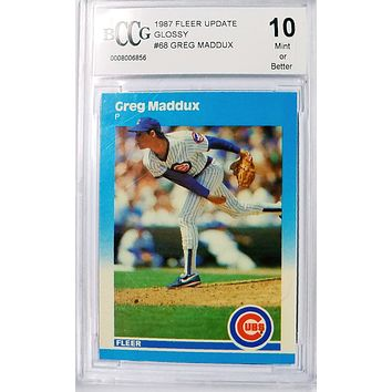"GREG MADDUX ROOKIE CARD ""10"" MINT 1987 Fleer Update GLOSSY U-68 Cubs Braves HOF"