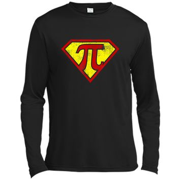 Super Pi  Funny Pi Day Superhero Math Nerd Joke 3.14 Long Sleeve Moisture Absorbing Shirt
