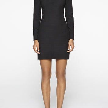 Textured Squares Long Sleeve Dress