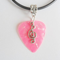 "Pink Guitar pick necklace with music note that is adjustable from 18"" to 20"""