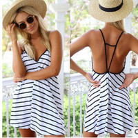 Summer Stripes V-neck Backless Sexy One Piece Dress [4966074244]