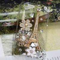 Handmade Charms Pearl Rhinestone Eiffel Tower Bling Bling Phone Case For Apple iPod Touch 4 4G Gen 4th Generation