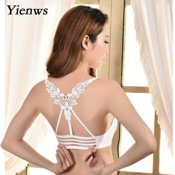Yienws Sexy Women Tank Top Padded Bra Crop Sameless Breathable Workout Bralette Female Strap Crop Top YWU037