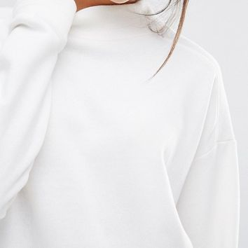 New Look High Neck Ribbed Sweatshirt at asos.com