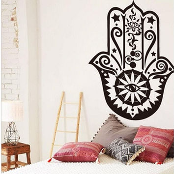 Art Design Hamsa Hand Wall Decal Vinyl Fatima Yoga Vibes Sticker Fish Eye Decals Indian Buddha Home Decor Lotus Pattern Mural [8069652487]