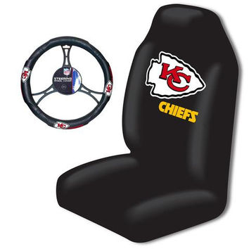 Kansas City Chiefs Car Seat Cover and Steering Wheel Cover Set