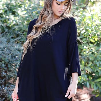 Black PIKO Bell Sleeve High-Low Tunic