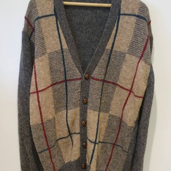 Grey and Tan Plaid Faux Wood 5 Button Oversized Cardigan