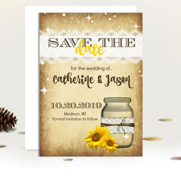 Sunflower Save the date Invitation coral fall invite rustic mason rustic papyrus vintage lace printed printable invites engagement invite