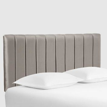 Smoke Gray Bran Channel Back Upholstered Headboard