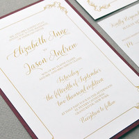 Calligraphy Wedding Invitations, Formal Wedding Invitation Suite, Wine and Gold Wedding Pocket Invitation Set Elegant Wedding Invite Classic
