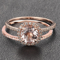 Round Morganite Engagement Ring Sets Pave Diamond Wedding 14K Rose Gold 7mm Claw Prong