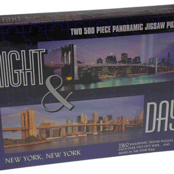 2 Puzzles Night & Day City New York City 500 Pc Panoramic Jigsaw Puzzles 2' NYC