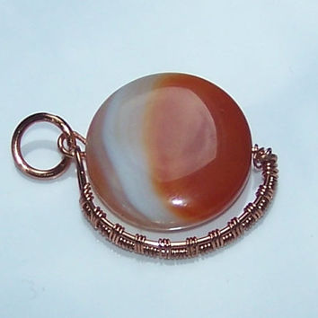 Minimalist Wire Wrapped Pendant With Natural Red Agate  And Copper Wire, Stone Setting
