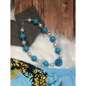 Light Blue and Pearl Chunky Necklace