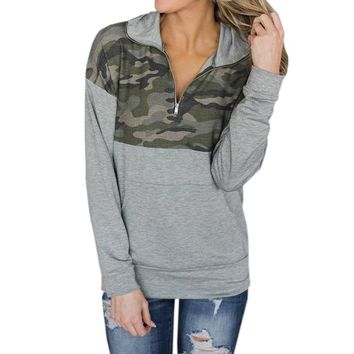 Women's Camouflage Hoodies Sweatshirts Zipper Winter Army Pullover Long Sleeve Autumn Sweatshirt With Kangaroo Pockets Harajuku