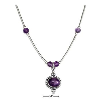 "STERLING SILVER 16"" LIQUID SILVER ROPED OVAL AMETHYST NECKLACE"