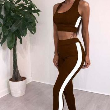 Brown Sleeveless Tight-fitting Sports Suit