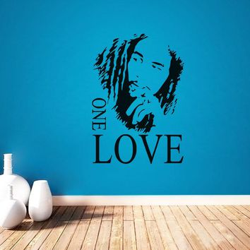 BOB MARLEY ONE LOVE vinyl decal quote diy art mural home decor bedroom removable wall stickers