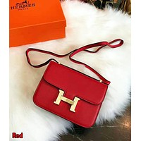 Hermes High Quality Classic Popular Women Shopping Bag Leather Crossbody Satchel Shoulder Bag Red