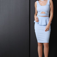 Peplum Pencil Cut Skirt