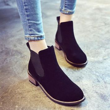 ESBONG Hot Deal On Sale Pointed Toe Dr. Martens With Heel Boots [9432935370]