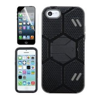 APPLE IPHONE 5C BLACK GRAY SOCCER HYBRID KICKSTAND COVER HARD GEL CASE + FREE SCREEN PROTECTOR from [ACCESSORY ARENA]
