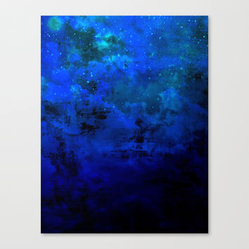 SECOND STAR TO THE RIGHT Rich Indigo Navy Blue Starry Night Sky Galaxy Clouds Fantasy Abstract Art Canvas Print by EbiEmporium
