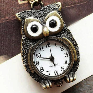 Pocket Watch 002: Owl Necklace Watch, Stainless Steel Watch, Best Chosen Gift
