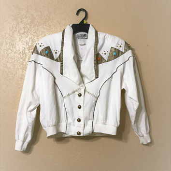 vintage City Girl Sport Jacket. stud embellished jacket. 80's jacket. white jacket. crop jacket